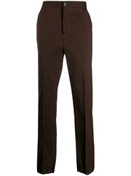 Acne Studios Striped Wool Trousers Brown