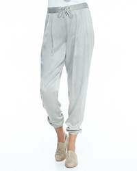 Eileen Fisher Silk Charmeuse Ankle Pants Petite Stone Grey Women's