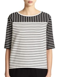 Lafayette 148 New York Jersey Mixed Stripes Tee Black White