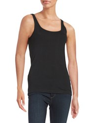 Lord And Taylor Ribbed Cotton Tank Black