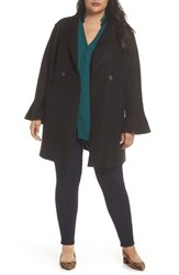 Halogen Plus Size Raw Edge Bell Sleeve Coat Black