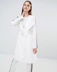 Lavish Alice Stripe Collarless Trench Coat White