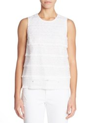 Lord And Taylor Sleeveless Lace Top White