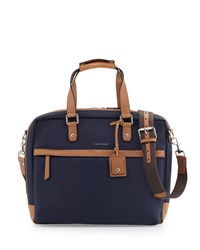Cole Haan Leather Trim Canvas Messenger Bag Navy
