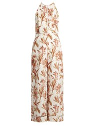 Zimmermann Oleander Ladder Linen And Cotton Blend Jumpsuit Ivory Multi