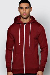 Boohoo Fit Zip Through Hoodie Burgundy