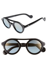 Moncler Women's 47Mm Rounded Sunglasses Shiny Black Blue Mirror Shiny Black Blue Mirror
