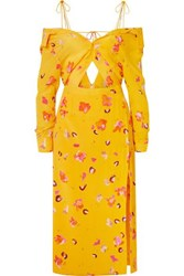 Altuzarra Adele Cold Shoulder Cutout Floral Print Silk Crepe De Chine Midi Dress Yellow