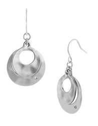 Kenneth Cole Silvertone Sculptural Double Drop Earrings