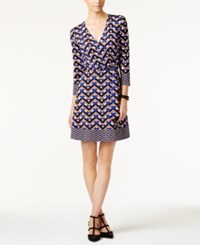 Inc International Concepts Petite Printed Wrap Dress Only At Macy's Goddess Blue