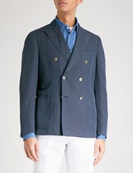 Slowear Chinolino Double Breasted Linen And Cotton Blend Jacket Navy
