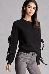 Forever 21 English Factory Cutout Sweater Black