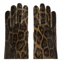 Raf Simons Brown Leather Animal Print Gloves