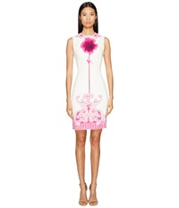 Versace Sleeveless High Neck Fitted Dress Bianco Stampa