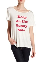 Project Social T Keep On The Sunny Side Front Graphic Print Tee Beige