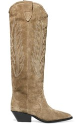 Isabel Marant Denzy Embroidered Suede Knee Boots Beige