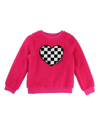 Little Marc Jacobs Soft Faux Fur Heart Illustration Sweater Pink