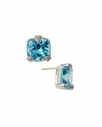Judith Ripka Fontaine Cushion Cut Crystal Button Earrings Blue