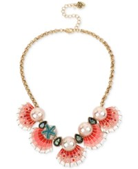 Betsey Johnson Gold Tone Imitation Pearl And Seashell Statement Necklace