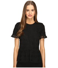 Kate Spade Mixed Lace Top Black Women's Clothing