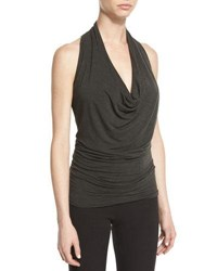 Urban Zen Cowl Neck Jersey Halter Top Mud Black