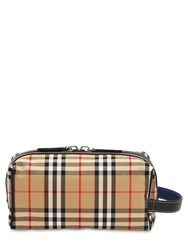 Burberry Check Cotton And Nylon Toiletry Bag Camel