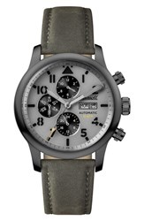 Ingersoll Watches Men's Hatton Automatic Multifunction Leather Strap Watch 47Mm Grey Gunmetal