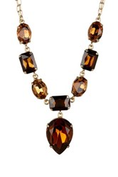 Nordstrom Rack Teardrop Stone Statement Necklace Topaz Smokey Gold