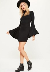 Missguided Black Flared Sleeve High Neck Bodycon Dress