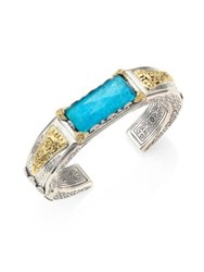 Konstantino Iliada Chrysocolla Quartz Doublet 18K Yellow Gold And Sterling Silver Cuff Bracelet Turquoise