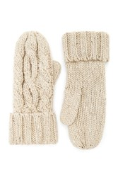 Forever 21 Cable Knit Mittens Taupe Taupe