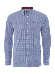 Merc Long Sleeve Gingham Check Shirt Royal Blue