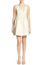 Frenchi Metallic Jacquard Fit And Flare Dress White
