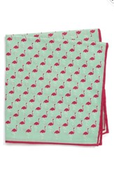 Southern Tide Fenwick Flamingo Cotton And Silk Pocket Square Mint