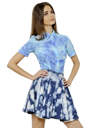 Fausto Puglisi Tie Dyed Silk Crepe Shirt Blue