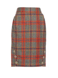Vivienne Westwood Twisted Tartan Wool Skirt Grey Multi