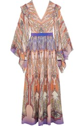 Etro Ruffled Printed Silk Georgette Gown Blush