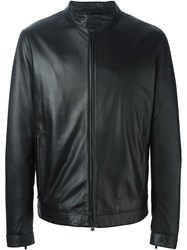 Z Zegna Leather Jacket Black