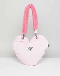 Lazy Oaf Dog Heart Tote Bag With Faux Fur Handle Pink