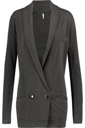 Soyer Double Breasted Cotton And Cashmere Blend Cardigan Anthracite