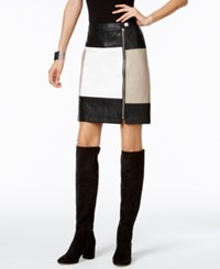 Inc International Concepts Colorblocked Faux Leather Pencil Skirt Only At Macy's Black White Cement