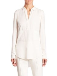 Akris Punto Long Sleeve Knit Collar Blouse Cream