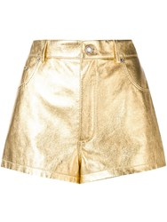 Saint Laurent Metallic Laminated Leather Shorts Gold