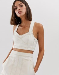 Weekday Co Ord Denim Crop Top With Contrast Stitching In Ecru Cream