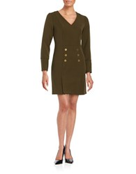 Shoshanna Button Front Dress Olive