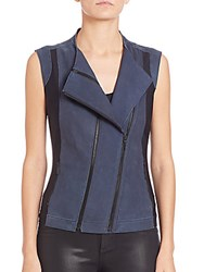 Elie Tahari Flavia Leather And Techno Jersey Vest Bold Blue