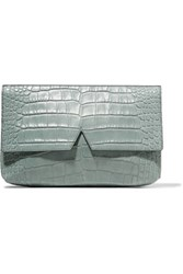Vince Croc Effect Leather Clutch Gray Green