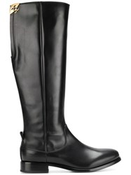 Fabi Knee High Boots Calf Leather Leather Rubber Black