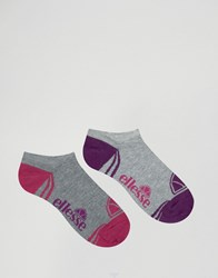 Ellesse 2 Pack Trainer Socks Pink Grey