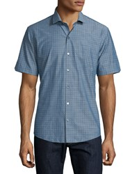 Zachary Prell Dot Print Woven Short Sleeve Shirt Blue Men's